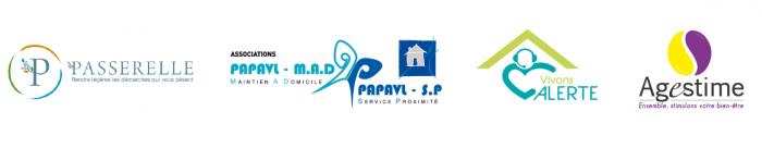 bandeau des partenaires des rencontres aidantes : Passerelle, Papavl, Vivons Alerte, Agestime, la Métropole Aidante